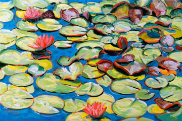 Lily Pads With Three Flowers