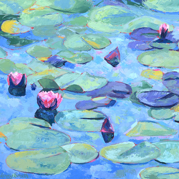 Print of Lily Pads with Five Flowers