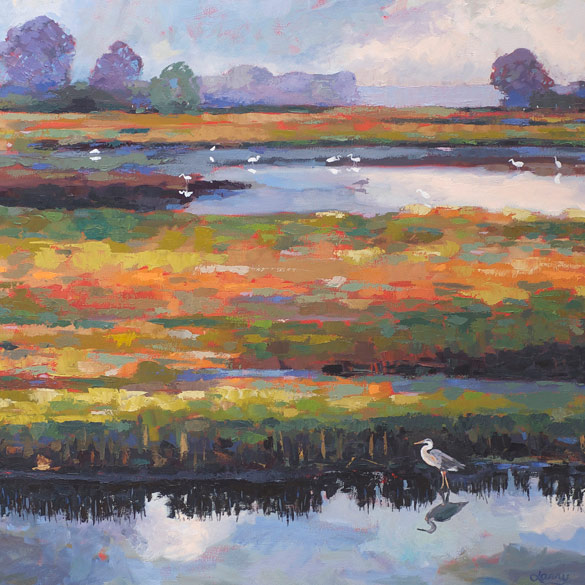 Print of Marsh with Egrets.