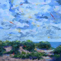 "SOLD 36"" x 36"" Sky over Lake Michigan"