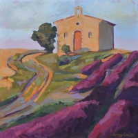 "SOLD 36"" x 36"" Chapel with Lavender Fields"