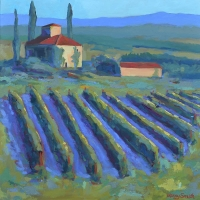 "SOLD 36"" x 36"" Vila with Blue Shadow Vineyard. SOLD"