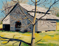 Barn with Tree