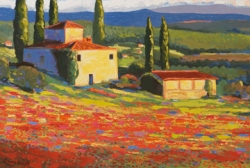 Tuscany Villa with Red Flowers