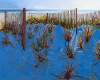 "60"" x 48"" Three Beach Fences with Blue Shadow"