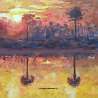 "36"" x 36"" Two Palm Trees at Sunset. Artist Personal Collection"