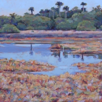 "36"" x 36"" Soft Orange Marsh with Egret"