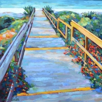 "36"" x 36"" Beach Walk with Red Flowers"