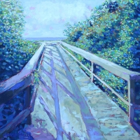 "36"" x 36"" Beach Board Walk. Artist Personal Collection."