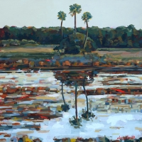 "36"" x 36"" SOLD. Marsh with Three Palms"