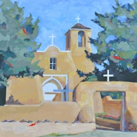 "36"" x 36"" Taos San Francisco Asisi Mission Church"