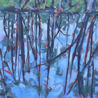 "36"" x 36"" Everglade Reflection with Egret"