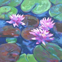 "36"" x 36"" Lily Pads with Three Pink Blooms"