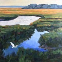 "36"" x 36"" Egret Flying Over Marsh"