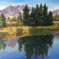 "36"" x 36"" Grand Tetons and Trees"