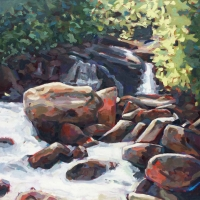 "36"" x 36"" Mountain Stream with Rocks"